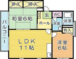 ウェールズ紫 B棟[2階]の間取り
