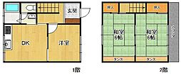 [テラスハウス] 兵庫県西宮市甲東園1丁目 の賃貸【/】の間取り