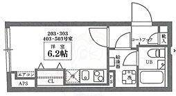 COCOCUBE井草 4階ワンルームの間取り