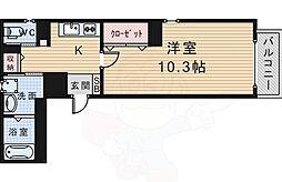 阪急宝塚本線 豊中駅 徒歩7分の賃貸マンション 4階1Kの間取り