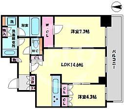 ブランズタワー梅田North(ブランズタワー梅田ノース) 12階2LDKの間取り