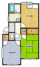 JR高崎線 北本駅 徒歩15分の賃貸アパート 1階2DKの間取り