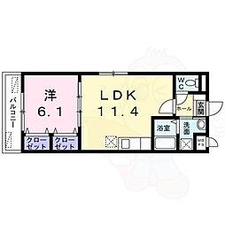 JR東海道・山陽本線 向日町駅 徒歩25分の賃貸マンション 2階1LDKの間取り