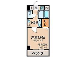 京都府京都市伏見区車町の賃貸マンションの間取り