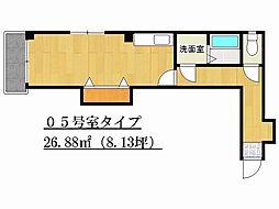 兵庫県姫路市飾磨区付城1丁目の賃貸マンションの間取り