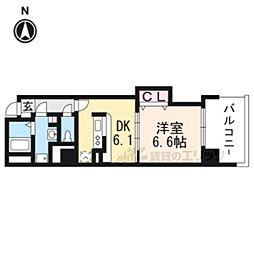 JR東海道・山陽本線 京都駅 徒歩9分の賃貸マンション 2階1DKの間取り