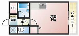 JR土讃線 高知駅 徒歩2分の賃貸マンション 4階ワンルームの間取り