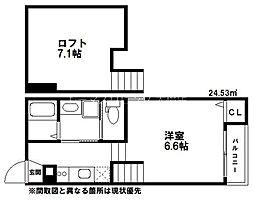 西鉄天神大牟田線 大橋駅 徒歩8分の賃貸アパート 2階1Kの間取り