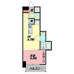 AVERE京阪本通 4階1DKの間取り