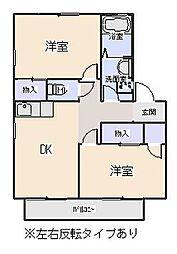 愛知県岡崎市西大友町字杭穴の賃貸アパートの間取り