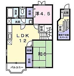 東京都国分寺市西町5丁目の賃貸アパートの間取り
