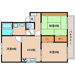 静岡県静岡市清水区村松原2丁目の賃貸アパートの間取り