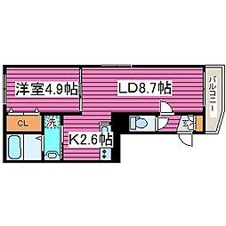 ハイパールN36[3階]の間取り