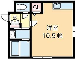 札幌市営東西線 西11丁目駅 徒歩15分の賃貸アパート 2階ワンルームの間取り