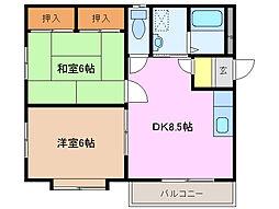 三重県鈴鹿市矢橋1丁目の賃貸アパートの間取り