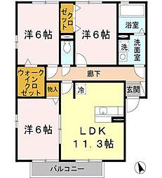 兵庫県たつの市揖西町土師2丁目の賃貸アパートの間取り