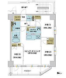 東武伊勢崎線 浅草駅 徒歩16分の賃貸マンション 5階3LDKの間取り