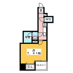 グランカーサ上野入谷 13階1Kの間取り