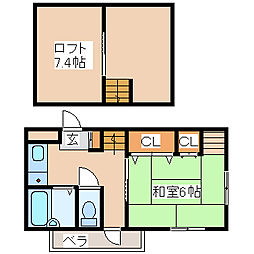 兵庫県神戸市西区枝吉4丁目の賃貸アパートの間取り