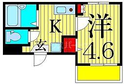 MELDIA東堀切 3階1Kの間取り