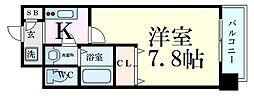 エスリード新大阪コンフォールII番館 1階1Kの間取り