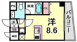 アドモリモト元町通 8階ワンルームの間取り