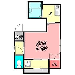 M'プラザ滝井駅前弐番館 1階1Kの間取り