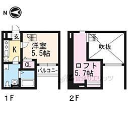 京阪宇治線 桃山南口駅 徒歩5分の賃貸アパート 2階1Kの間取り
