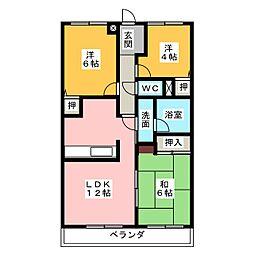 キャッスルシティ城崎II[6階]の間取り