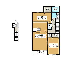 ポートスクエアA[2階]の間取り