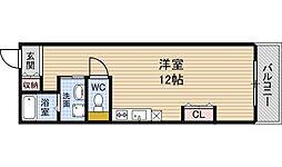 ライフデザイン江戸堀 4階ワンルームの間取り