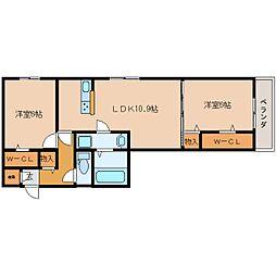 近鉄生駒線 一分駅 徒歩1分の賃貸アパート 1階2LDKの間取り