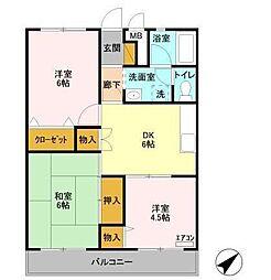 松丸第二コーポ[4階]の間取り