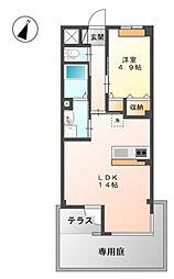 広島電鉄宮島線 井口駅 徒歩16分の賃貸マンション 1階1LDKの間取り