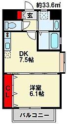 ハーヌルNAKAI 6階1DKの間取り