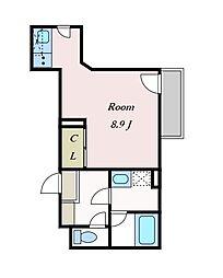 京王線 千歳烏山駅 徒歩7分の賃貸アパート 2階ワンルームの間取り
