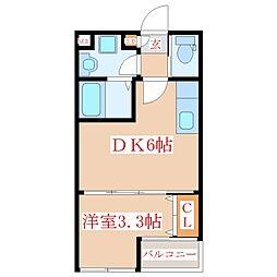 ディアコート中郷 1階1DKの間取り