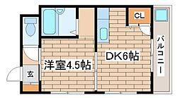 兵庫県神戸市須磨区戸政町3丁目の賃貸マンションの間取り