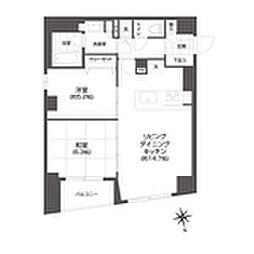 都営大江戸線 牛込柳町駅 徒歩3分の賃貸マンション 13階2LDKの間取り