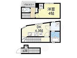 CASA Asteria fukushima VII 2階1DKの間取り