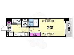 JR東海道・山陽本線 西大路駅 徒歩10分の賃貸マンション 7階1Kの間取り