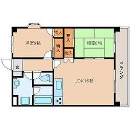 奈良県生駒郡斑鳩町法隆寺東2丁目の賃貸マンションの間取り