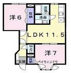愛媛県伊予郡松前町大字北黒田の賃貸アパートの間取り
