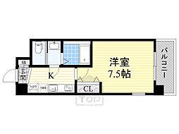Luxe鶴見 9階1Kの間取り