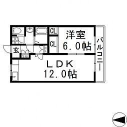 クオリティ小阪[201号室号室]の間取り