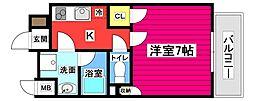仙台市地下鉄東西線 大町西公園駅 徒歩7分の賃貸マンション 2階1Kの間取り