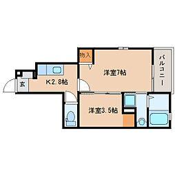 静岡県焼津市大住の賃貸アパートの間取り