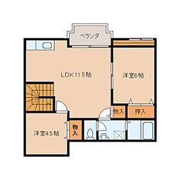 奈良県橿原市北妙法寺町の賃貸アパートの間取り