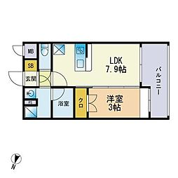 仮称)松香台1丁目マンション 2階1DKの間取り