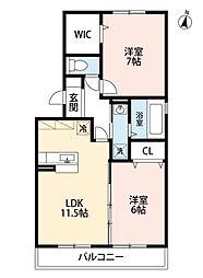 福岡県北九州市小倉南区中吉田3丁目の賃貸アパートの間取り